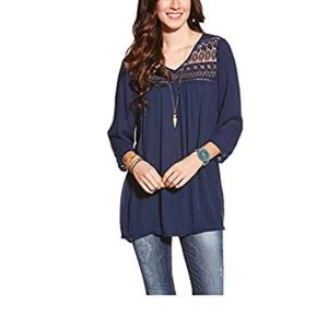 Ariat flowy shirt with crochet detail